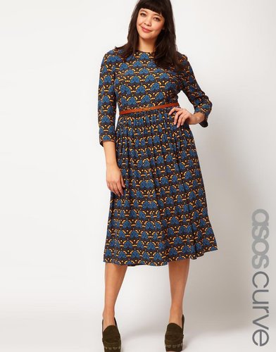 ASOS CURVE Midi Dress in Wallpaper Print