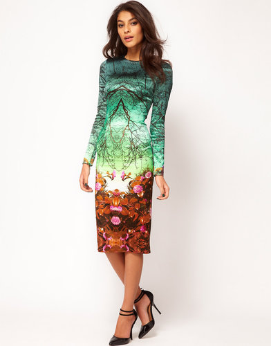 ASOS Premium Midi Pencil Dress in Forest Print