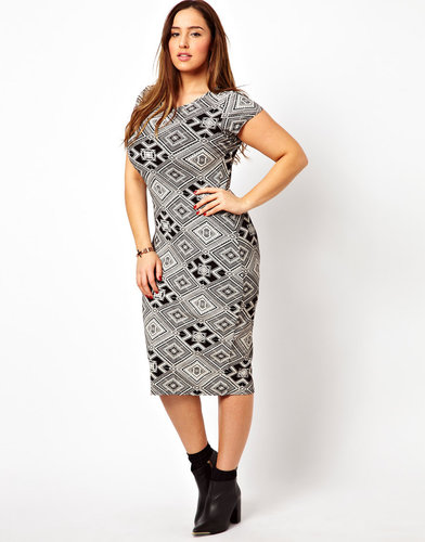 New Look Inspire Body-Conscious Aztec Jersey Midi Dress