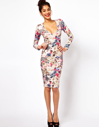 ASOS V-Neck Dress With Jewel Flower Print