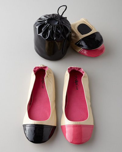 CitySlips Luxe Patent Contrast Toe Foldable Travel Flats
