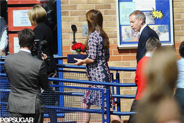 Kate Middleton walked into the school.