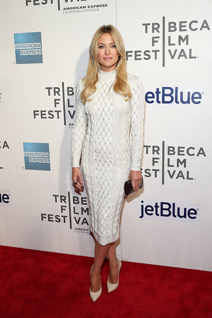 Kate Hudson glowed on the red carpet in a body-conscious, cable-knit Jenny Packham dress and Casadei pumps for the premiere of The Reluctant Fundamentalist.