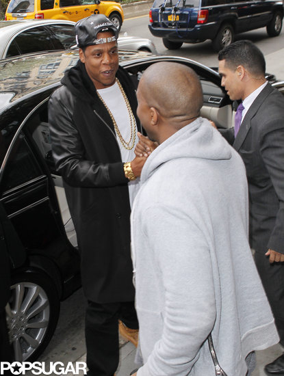 Jay-Z shook hands with Kanye West.