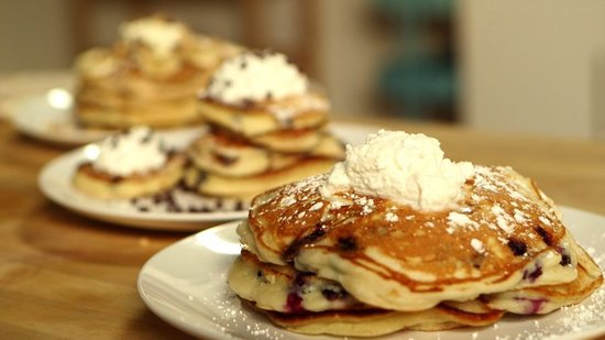 Pancakes 3 Ways: Banana Walnut, Chocolate Chip, and Blueberry Ricotta