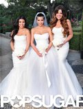 Kim Kardashian had the support of her sisters Kourtney and Khloé at her August 2011 Montecito wedding to Kris Humphries.