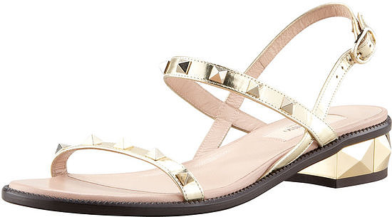 The sturdy block heel on these Valentino Rockstud Low-Heel Sandals ($745) are great for a garden or beach wedding, and the color will look great on all skin tones.
