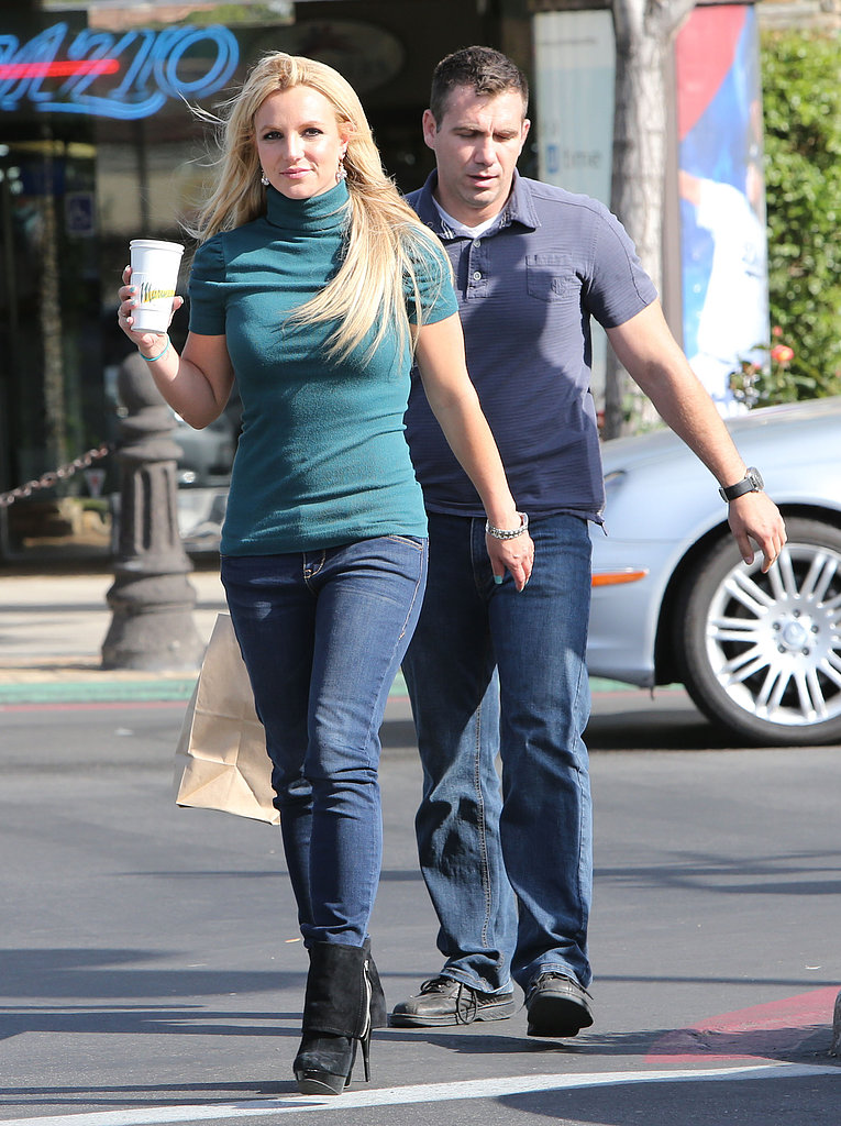 Britney Spears walked through an LA parking lot on Wednesday.