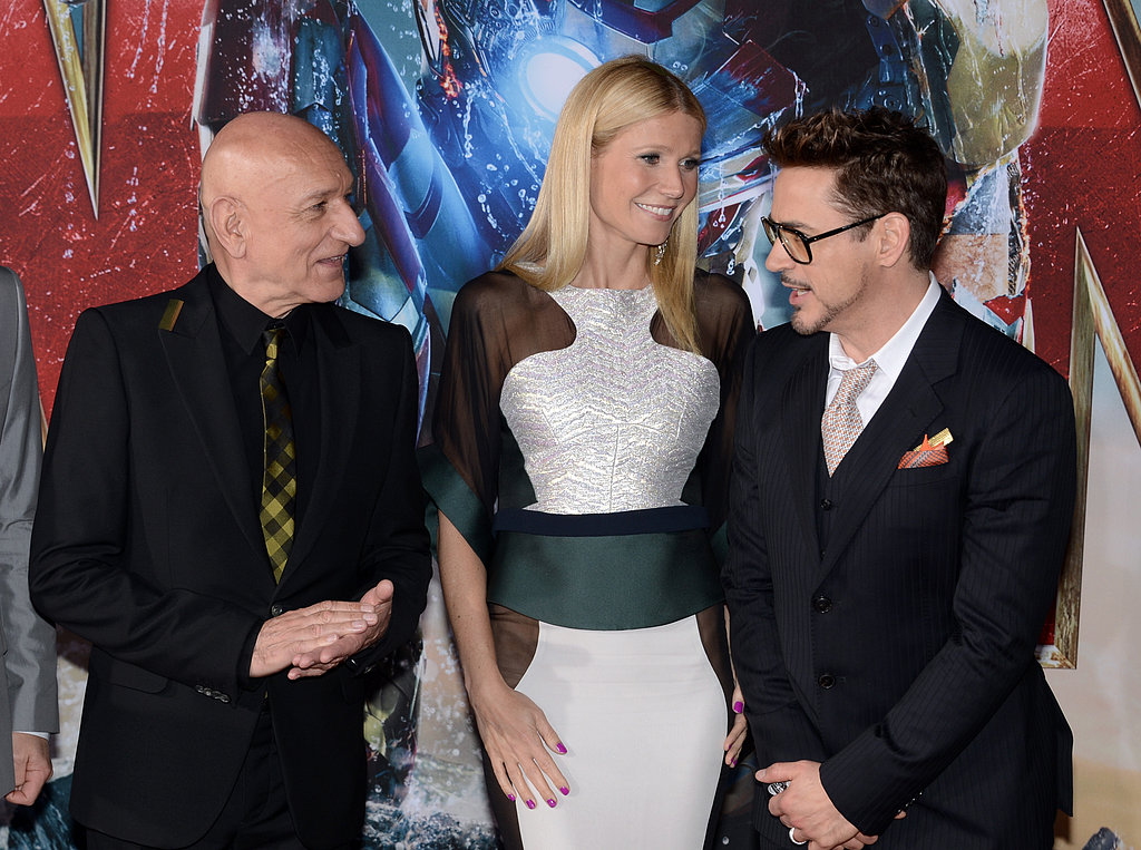 Gwyneth Paltrow posed for photos with Ben Kingsley and Robert Downey Jr.