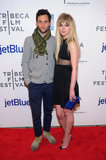 Penn Badgley posed on the red carpet with costar Imogen Poots at the Tribeca Film Festival premiere of Greetings From Tim Buckley.