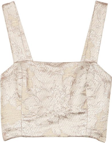 Suno Metallic jacquard cropped top