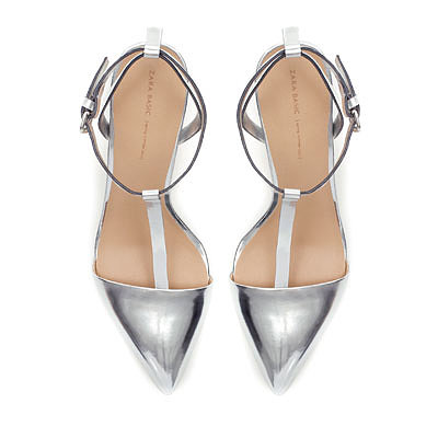 Image 1 of LAMINATED HIGH-HEEL SANDALS WITH ANKLE STRAPS from Zara
