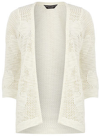 Ivory open stitch heart cardigan