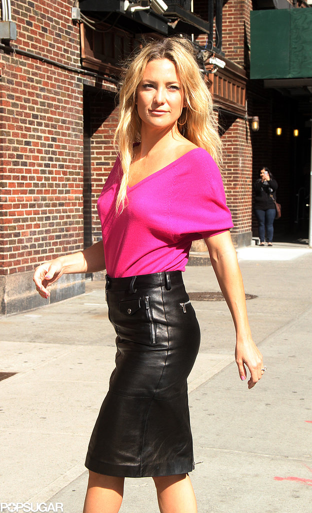 Kate Hudson stopped for pictures in NYC ahead of her Late Show interview.
