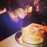 Kourtney Kardashian blew out the candles on her birthday cake while celebrating with friends. Source: Instagram user kourtneykardash