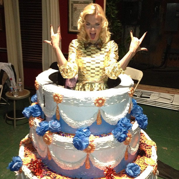 Jaime King popped out of a birthday cake on the set of Hart of Dixie. Source: Instagram user jaime_king