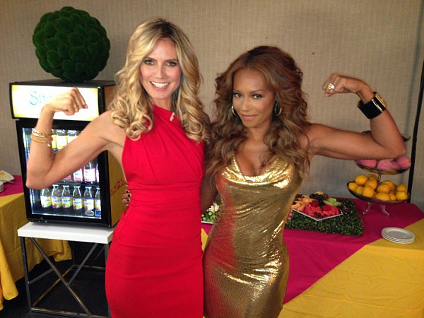 Heidi Klum and Melanie Brown gave out free tickets to the gun show on the set of America's Got Talent. Source: Twitter user heidiklum