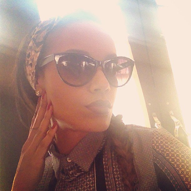 Selita Ebanks showed off a chic pair of cat-eye sunglasses. Source: Instagram user selitaebanks