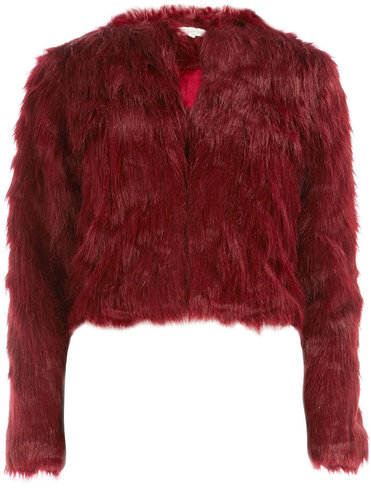 Burgundy crop fur jacket