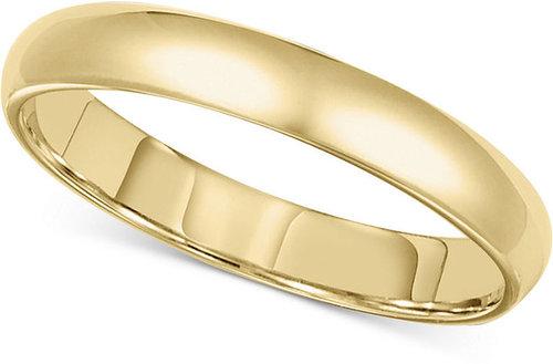 Macy's Men's 14k Gold Ring, 3mm Comfort Fit Wedding Band