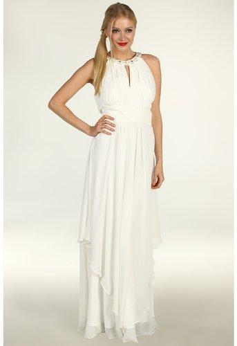 Eliza J - S/L Halter Neck Long Bridal Gown w/ Ruched Bodice Waist (Ivory) - Apparel