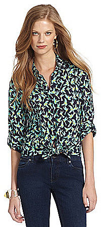 TWO by Vince Camuto Bird-Print Shirt