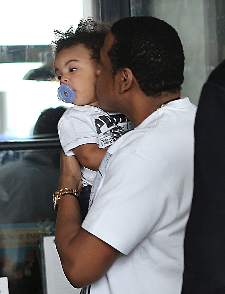 Jay Z showered Blue with kisses at a family lunch in Paris in April 2013.