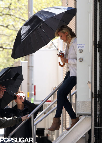 Cameron Diaz left her trailer in NYC on Thursday to film The Other Woman.