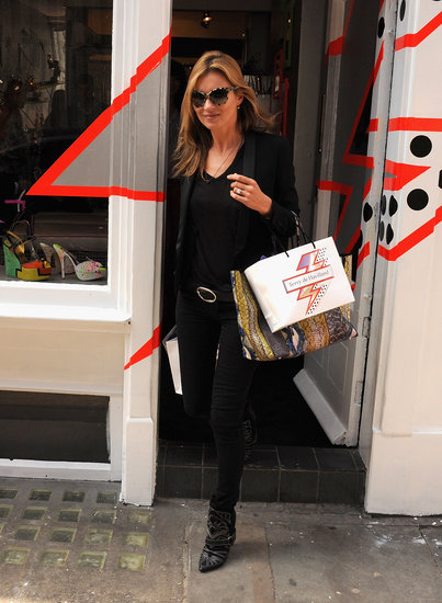 Kate Moss left the Terry de Havilland store.