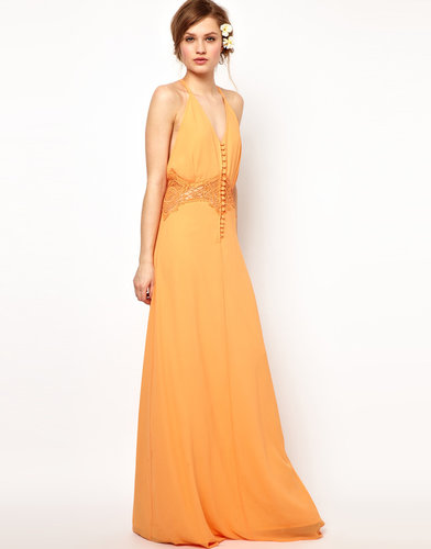 Jarlo Maxi Dress with Lace Inserts and Button Detail