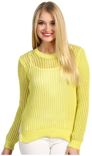 BCBGeneration - Slouchy Open Knit Pullover (Lemon Ice) - Apparel