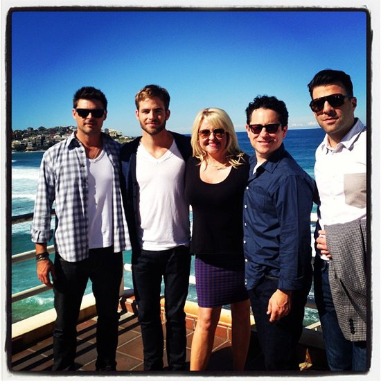 Angela Bishop caught up with Star Trek Into Darkness stars Karl Urban, Chris Pine, director J.J. Abrams and Zachary Quinto during their Bondi Beach photo call. Source: Instagram user angelabishop10