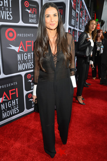 Demi Moore gave us a cooler riff on the menswear vibe in a sheer tuxedo-style jumpsuit at AFI's Night at the Movies.