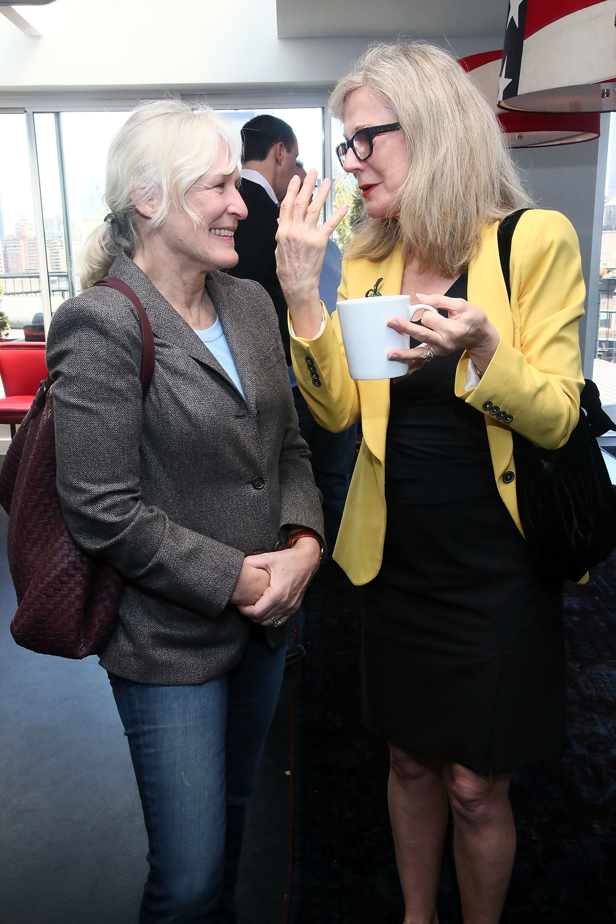 Glenn Close and Blythe Danner chatted at the Wom