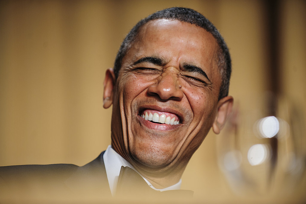 The president cracked up during Conan's headlining act.