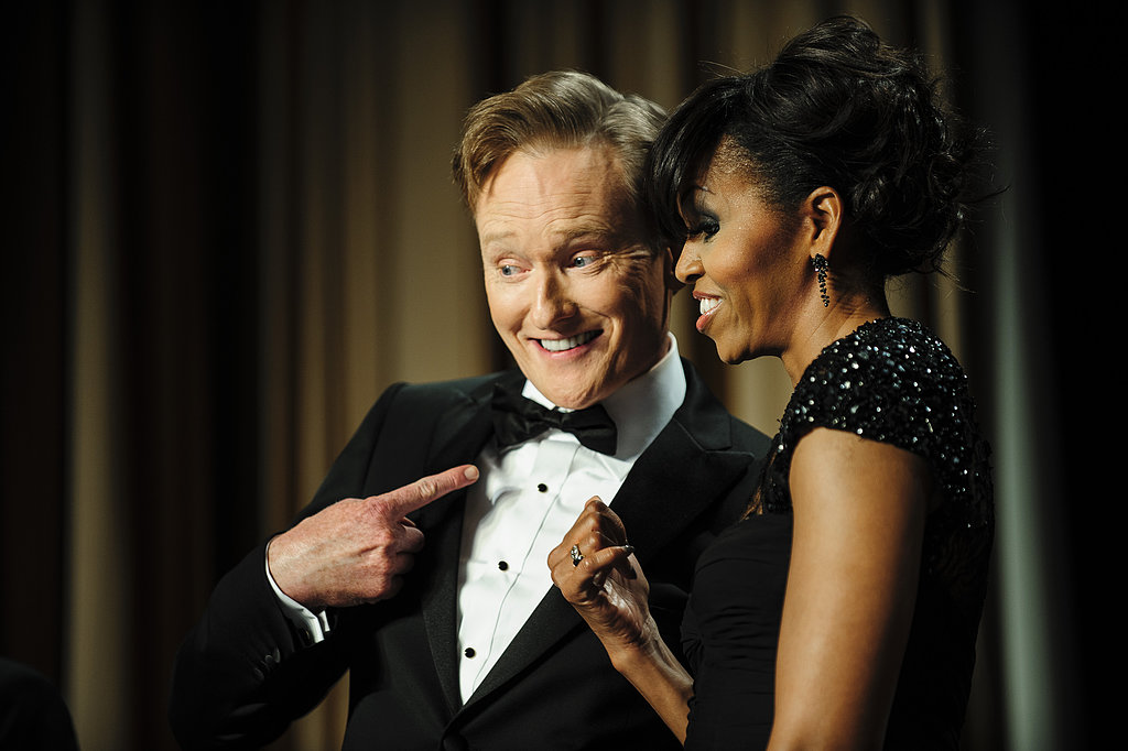 Conan posed with the first lady.