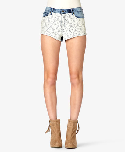 FOREVER 21 Embroidered Mineral Wash Denim Shorts