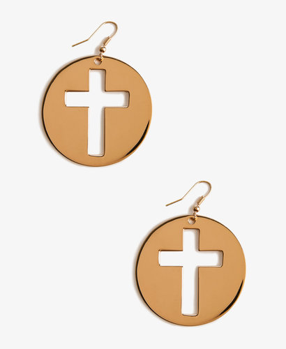 FOREVER 21 Cutout Cross Medallion Earrings
