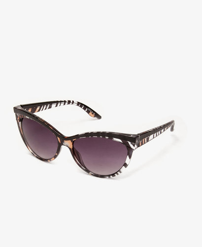 FOREVER 21 F2211 Zebra Print Cat-Eye Sunglasses