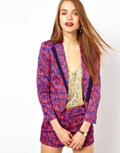 French Connection Crop Jacket In Sundance Print