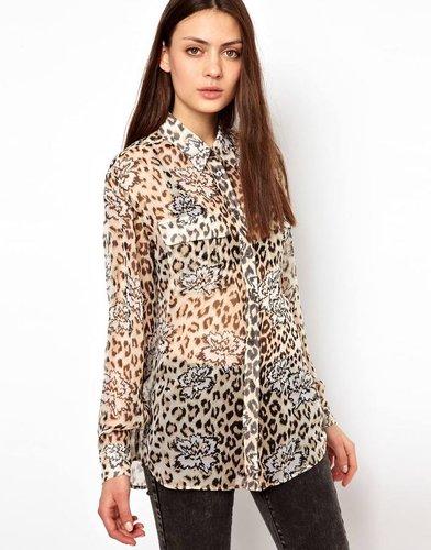 Equipment Signature Silk Shirt in Natural Leopard