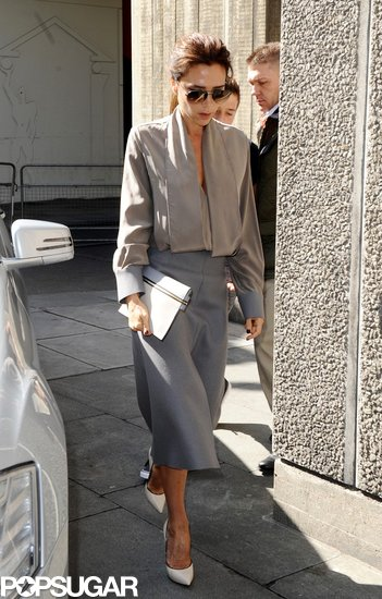 Victoria Beckham wore a gray ensemble.