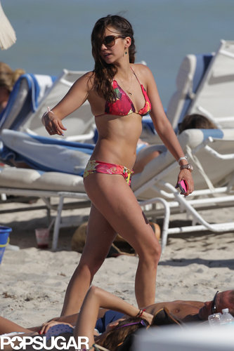 Nina Dobrev rocked a colorful bikini in Miami in April 2013.