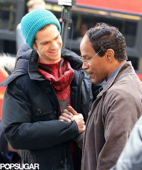 Jamie Foxx and Andrew Garfield joked around on set.