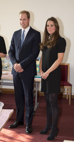 The Duke and Duchess of Cambridge visited the offices of Child Bereavement UK in March. For the occasion, Kate wore a Peter Pan-collared, black-and-white Topshop dress with black tights and pumps.