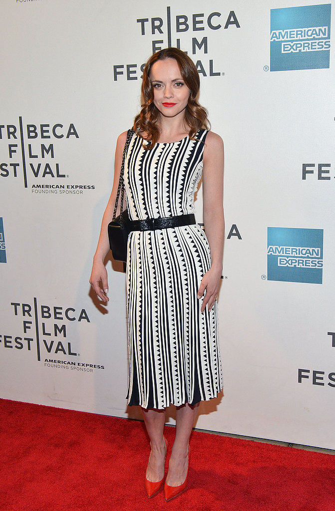 For an on-trend ensemble, follow Christina Ricci's lead and choose a black-and-white printed dress, like her Oscar de la Renta number, then finish with sassy red pumps and a matching lip.