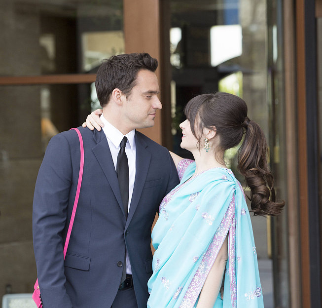 Jake Johnson and Zooey Deschanel on New Girl.