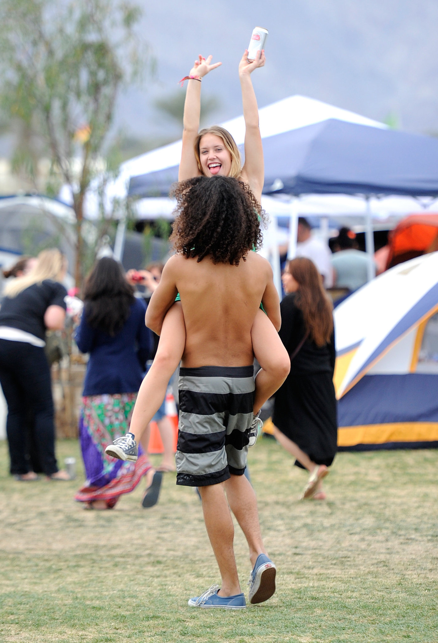 A couple couldn't wait to get the party started on day one of Coachella.