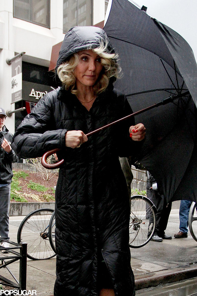 Cameron Diaz wore a long rain jacket in NYC.
