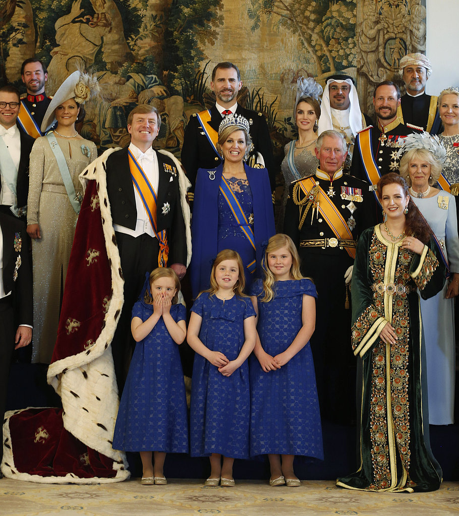The Dutch royal family posed with other royals following the inauguration ceremony.